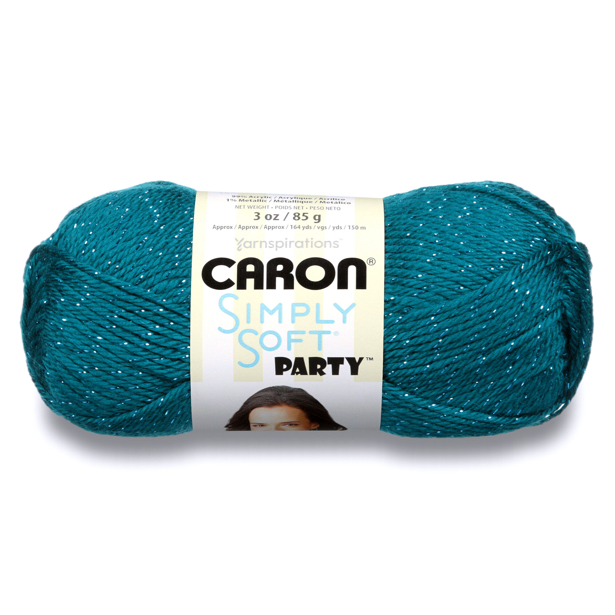 Caron Simply Soft Party Yarn, Teal Sparkle